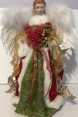Angel Christmas Tree Topper Green Red Dress White Feather Wings Porcelain Face