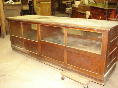 Antique Oak General Store  8' Counter with Showcase with Sliding Doors - L@@K