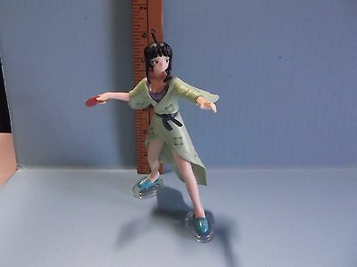 """Love Hina  6""""in Girl Figure in Green Kimono Style Robe with Ping Pong Paddle"""