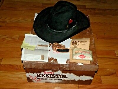 Resistol Black Quicksilver 4X Beaver Long Oval Cowboy Hat Size 7 1 4 with  Box d42a9680b404