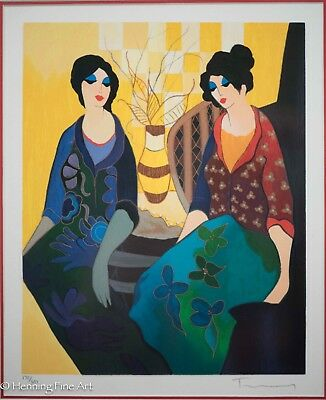 """Extremely Rare Itzchak Tarkay Signed Serigraph """"Good Friends"""" Gallery Framed!"""