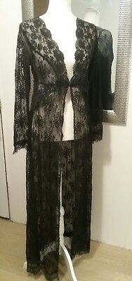 Claire Pettibone Bridal Robe Black Lace  Sheer XL