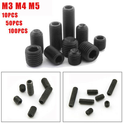 10X M3 M4 M5 12.9 Grade Alloy Steel Hex Socket Set Screws W/Cup Point Grub Screw