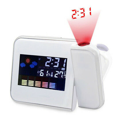 Projection Digital Wake Alarm Clock Snooze Weather Thermometer LCD Color Display