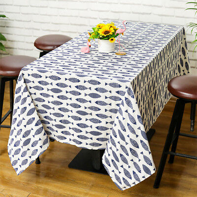 Saury Fish Table Cloth Cotton Linen Table Cover Kitchen Dining Home Deco Wedding