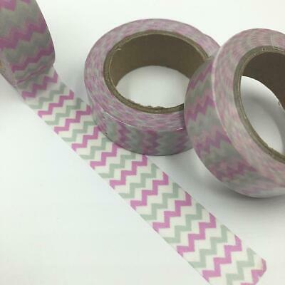 WASHI TAPE 15mm x 10m - Pink and Silver zig zag