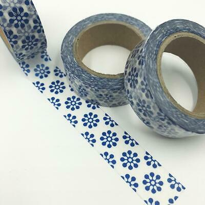 WASHI TAPE 15mm x 10m - Blue round motif