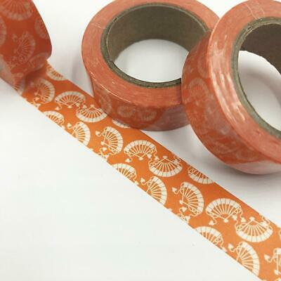 WASHI TAPE 15mm x 10m - Orange Japanese Fans