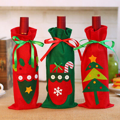 Red Wine Bottle Cover Bags Tree/Glove/Gift Bag Christmas Decor Party Ornaments