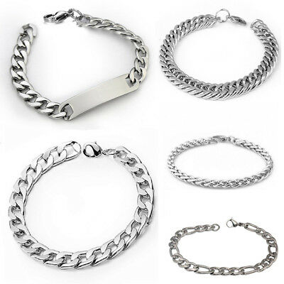 Men's Punk Silver Stainless Steel Link Chain Bracelet Wristband Bangle Jewelry