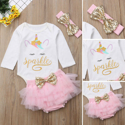Newborn Baby Girl Unicorn Top Romper Pants Tulle Skirt Outfit Clothes US Seller