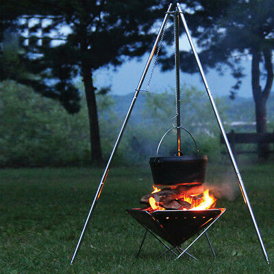Stainless Steel Portable BBQ Grill Outdoor Camping Barbecue Tripod Caravan Stove