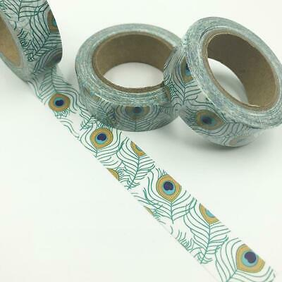 WASHI TAPE 15mm x 10m - Peacock Feathers