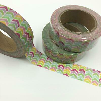 WASHI TAPE 15mm x 10m - Multi coloured zig zag arrows