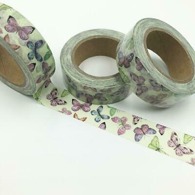 WASHI TAPE 15mm x 10m - Butterflies on mint green background