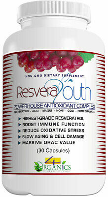 RESVERAYOUTH Resveratrol + Super-Fruits Aging / Immune Support Supplement (30)
