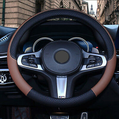 PU Leather Car Steering Wheel Cover Anti-slip Protector Fit 38cm BlackCoffee New