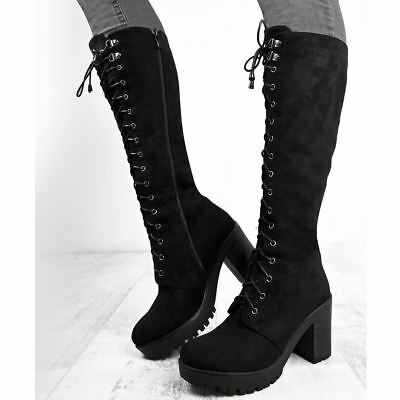 Womens Ladies Chunky Block Heel Knee High Cleat Sole Lace Goth Punk Biker Boots