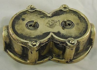 NEW SPECIAL Round Bronze Vintage Industrial 2 Gang Light Switch - BS EN Approved