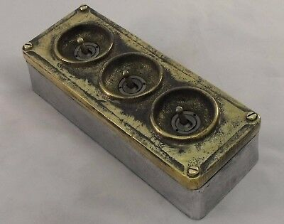 NEW Brass & Cast Metal 3 Gang Vintage Industrial Light Switch - BS EN Approved