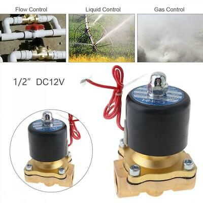1/2'' DC 12V 2-Way Brass Electric Solenoid Valve Air Water Fuel Gas Normal Close