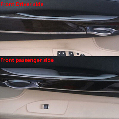 Pair Black Inner Front Door Panel Handle Pull Trim Cover for BMW 7 F01 F02 08-15