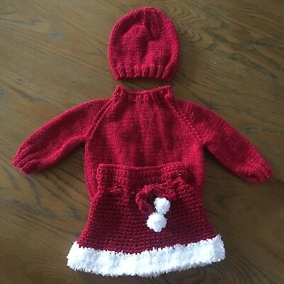 Hand Knitted Baby Girl's Red Christmas Outfit (Skirt, Jumper & Hat) 3-6 Months