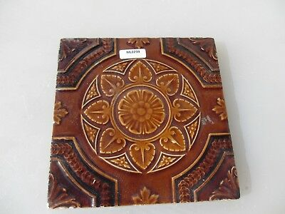 Antique Ceramic Tile Vintage Floral Flower Art Nouveau Flowers Floral Old
