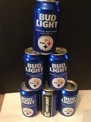 2018 NFL Pittsburgh Steelers Empty Beer Bud Light Kickoff Cans Lot of 6 Pack