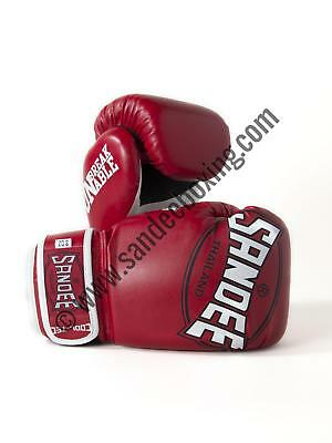 Sandee Cool-Tec Velcro Red, White & Black Synthetic Leather Kids Boxing Gloves