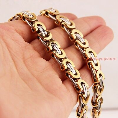 "7""-40"" 8mm Charm Womens Mens Byzantine Bracelet or Necklace 316L Stainless Steel"