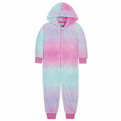 Girls Pyjama Jumpsuit Playsuit Hooded Mermaid Unicorn Supersoft Plush Fleece