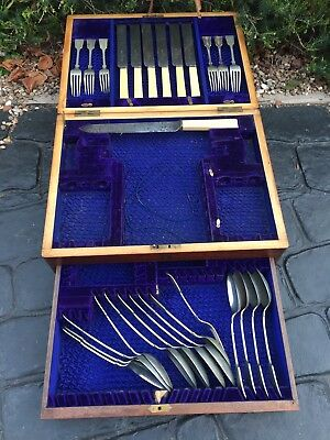House Clearance Attic Barn Find Classic Rare vintage 1895 cutlery Wooden Box set