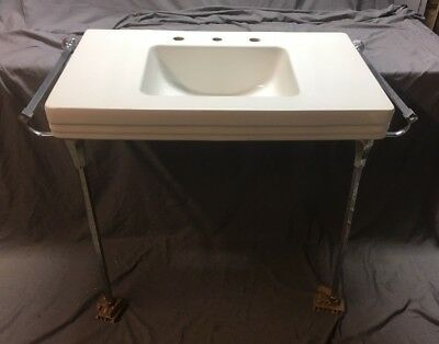 Large Vtg Mid Century Ceramic White Sink Chrome Legs Towel Bars Standard 506-18E