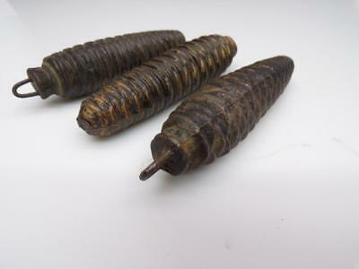 "4-1/4"" Vintage  Matched Cuckoo Clock Pine Cone Weights .58lb each E1020b"