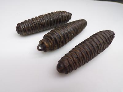 "4-1/4"" Vintage  Matched Cuckoo Clock Pine Cone Weights .58 lb each E1020a"