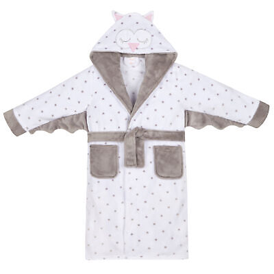 Childrens Girls Owl Robe Dressing Gown Kids Plush Fleece Heart Hooded Novelty