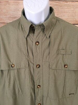 0094d2673ee64 ORVIS Men's Green Plaid Checked Long Sleeve Vented Fly Fishing Shirt Medium