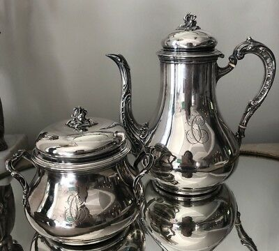 Antique FRENCH Sterling Silver Teapot/ Coffeepot  Sugar 2 pc Set