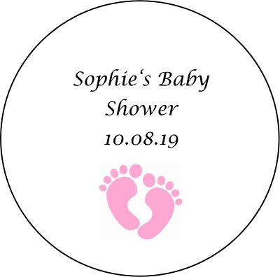 48 personalised baby shower stickers labels favours girl pink feet round circle