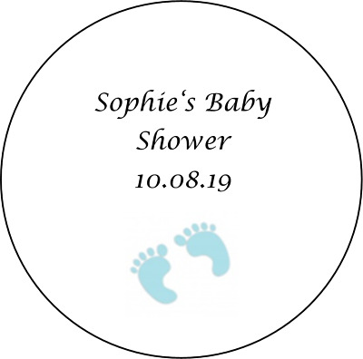 48 personalised baby shower stickers labels favours BOY BLUE feet round circle