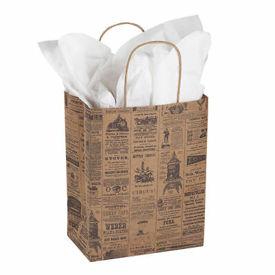 "Paper Gift Bags News 100 Newsprint Retail Merchandise Shopping 8 ¼"" x 4 ¾"" x 10"
