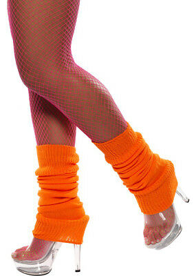 Womens 80s Neon Orange Legwarmers