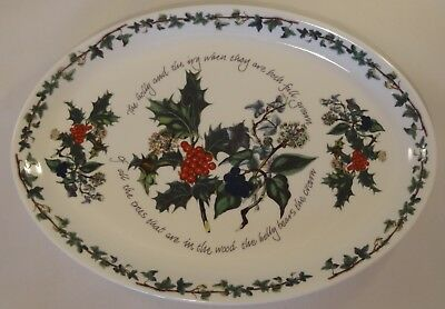 """Portmeirion The Holly & The Ivy 13"""" Oval Steak Platter Or Plate"""