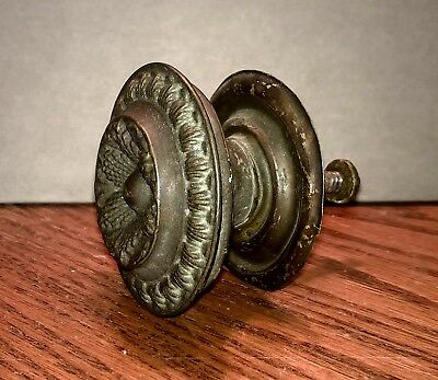 Original Antique English Hammer Press Brass Drawer Door Knob Pull c. Early 1900s