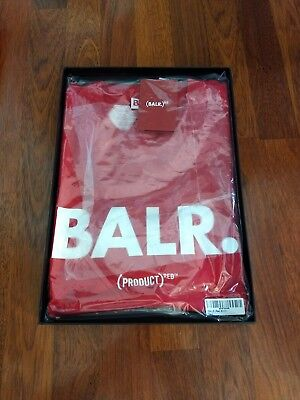 BALR.  (PRODUCT) RED T-SHIRT NEW With COA ~ HIV / AIDS Awareness Men's L - XXL