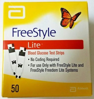 FreeStyle Lite Blood Glucose Test Strips, 50 count Exp: 2020-08