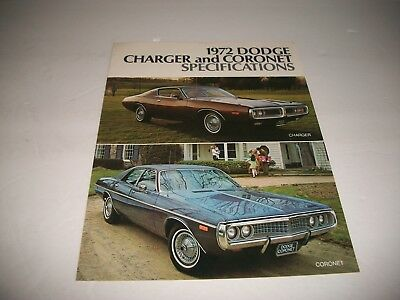 1972 Dodge Charger & Coronet Specifications & Options Brochure Cdn Issue