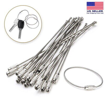 Fashion Style 10pcs 15cm Edc Keychain Tag Rope Stainless Steel Wire Cable Loop Screw Lock Tool Sets