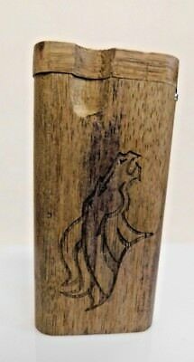 Etched Broncos Football Wooden Dugout with Metal Bat and Metal Poker